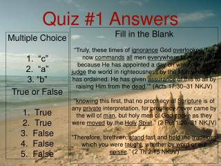 Quiz #1 Answers