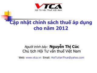Cập nhật chính sách thuế áp dụng cho năm 2012