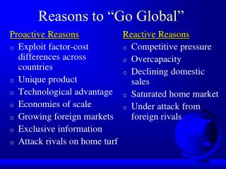 Reasons to  Go Global