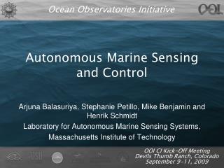 Autonomous Marine Sensing and Control