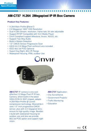AM- C 73 7   H.264   2Megapixel  IP  IR Box  Camera