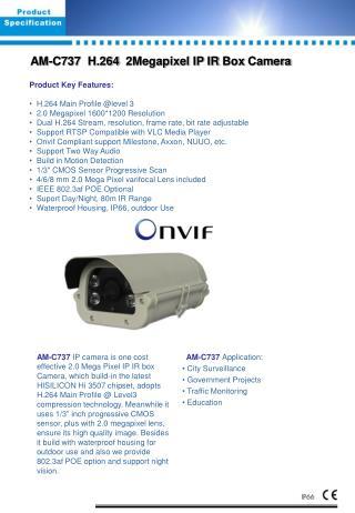 AM- C 73 7   H.264   2Megapixel  IP  IR Box  Camera