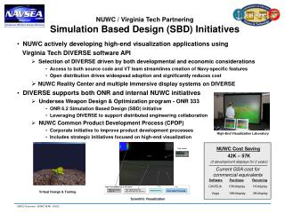 NUWC / Virginia Tech Partnering Simulation Based Design (SBD) Initiatives