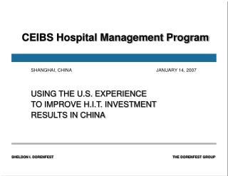 CEIBS Hospital Management Program