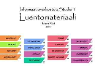 Informaatioverkostot: Studio 1 Luentomateriaali