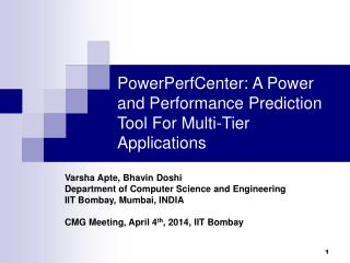 PowerPerfCenter: A Power and Performance Prediction Tool For Multi-Tier Applications
