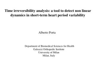 Time irreversibility analysis: a tool to detect non linear