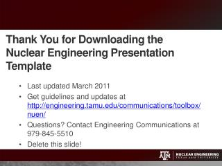 Thank You for Downloading the Nuclear Engineering Presentation Template