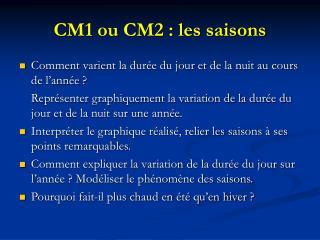 CM1 ou CM2 : les saisons