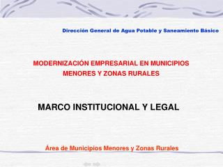 �rea de Municipios Menores y Zonas Rurales
