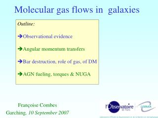 Molecular gas flows in  galaxies