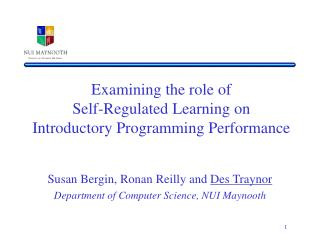 Examining the role of  Self-Regulated Learning on  Introductory Programming Performance