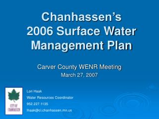 Chanhassen's  2006 Surface Water Management Plan