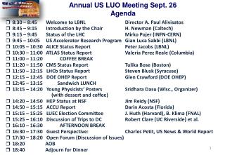Annual US LUO Meeting Sept. 26   Agenda