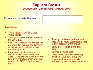 Saguaro Cactus Interactive Vocabulary PowerPoint