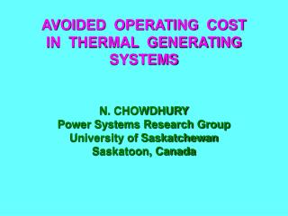 AVOIDED  OPERATING  COST  IN  THERMAL  GENERATING  SYSTEMS