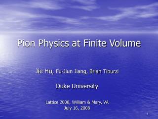 Pion Physics at Finite Volume