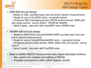 GEC14 Wrap-Up:   I&M Design Topics