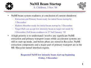 NuMI Beam Startup S. Childress, 3 Nov.'04