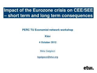 Impact of the Eurozone crisis on CEE/SEE – short term and long term consequences
