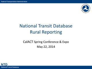 National Transit Database Rural Reporting