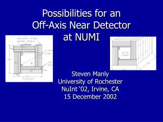 Possibilities for an  Off-Axis Near Detector at NUMI
