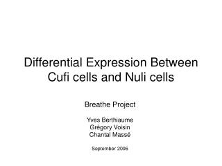 Differential Expression Between Cufi cells and Nuli cells