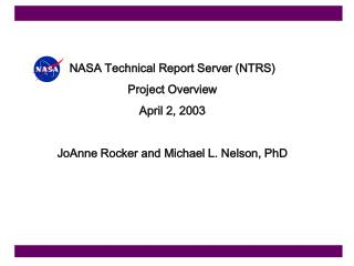 NASA Technical Report Server (NTRS) Project Overview April 2, 2003