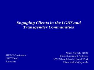Engaging Clients in the LGBT and Transgender Communities