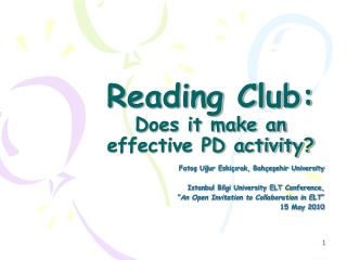 Reading Club:  Does it make an effective PD activity?
