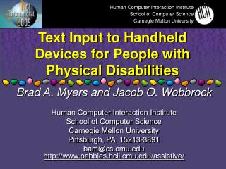 Text Input to Handheld Devices for People with Physical Disabilities