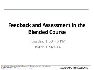 Feedback and Assessment in the Blended Course