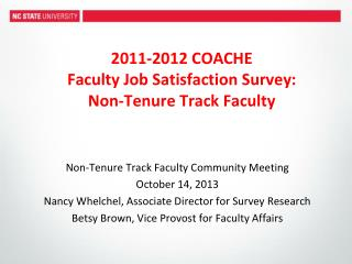 2011-2012 COACHE Faculty Job Satisfaction Survey: Non-Tenure Track Faculty