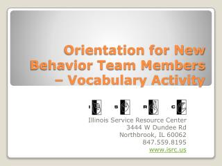 Orientation for New Behavior Team Members – Vocabulary Activity