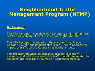 Neighborhood Traffic Management Program (NTMP) Background