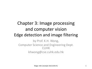 Image processing  and computer vision Edge detection