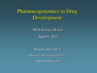 Pharmacogenomics in Drug Development