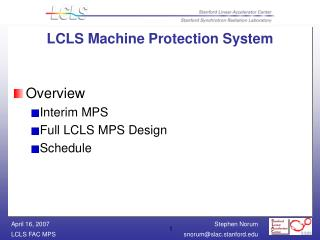 LCLS Machine Protection System