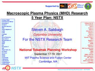 Macroscopic Plasma Physics (MHD) Research 5 Year Plan: NSTX