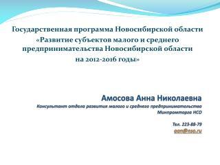 Государственная программа Новосибирской области