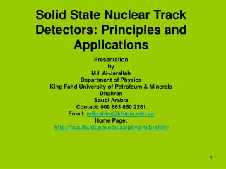 Solid State Nuclear Track Detectors: Principles and Applications