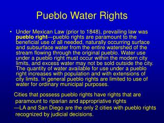 Pueblo Water Rights