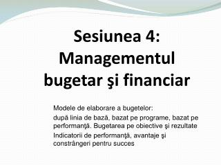 Modele de elaborare a bugetelor: