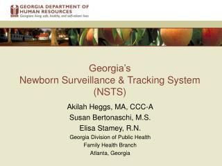Georgia's   Newborn Surveillance & Tracking System (NSTS)