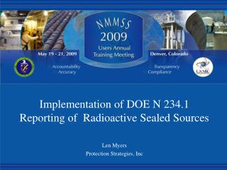 Implementation of DOE N 234.1 Reporting of  Radioactive Sealed Sources