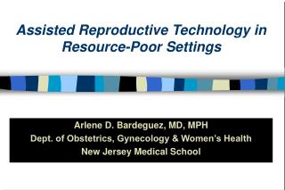 Assisted Reproductive Technology in Resource-Poor Settings
