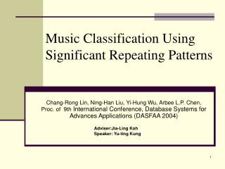 Music Classification Using Significant Repeating Patterns