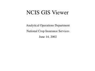 NCIS GIS Viewer