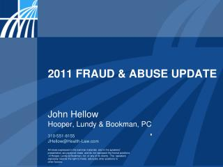2011 FRAUD  ABUSE UPDATE