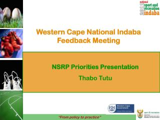 Western Cape National Indaba Feedback Meeting